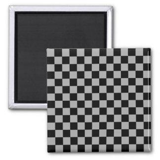 Black checkers on gray background fridge magnet