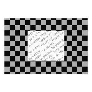 Black checkers on gray background art photo