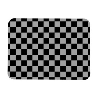 Black checkers on gray background rectangular photo magnet