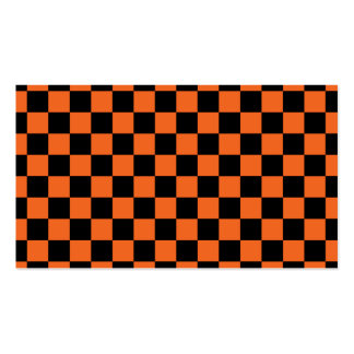 Black checkers on orange background business card template