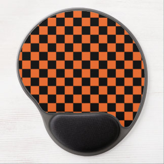Black checkers on orange background gel mouse pad
