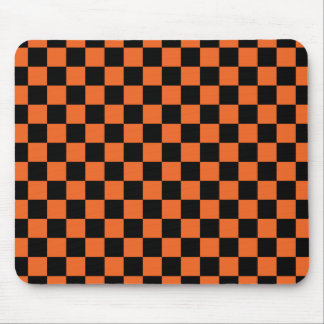 Black checkers on orange background mouse pad