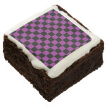 Black checkers on purple background brownie