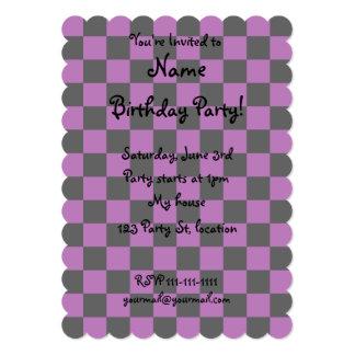 "Black checkers on purple background 5"" x 7"" invitation card"