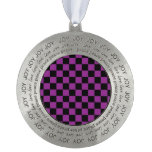 Black checkers on purple background round pewter ornament