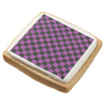 Black checkers on purple background square premium shortbread cookie