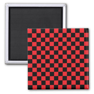 Black checkers on red background 2 inch square magnet