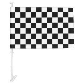Black Checkers with your colors Car Flag