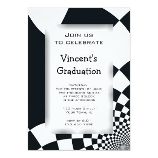 Black Checks Graduation Party Invitation