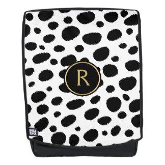 Black Cheetah Spots On White Pattern Backpack