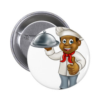 Black Chef Cartoon Character with Platter Button