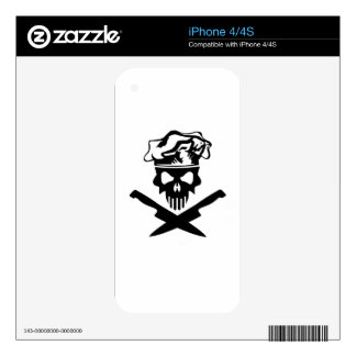 Black Chef Skull and Chef Knives iPhone 4S Decal