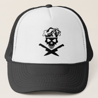 Black Chef Skull and Chef Knives Trucker Hat