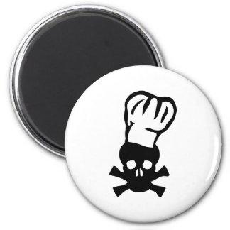 black chef skull chefs head cook 2 inch round magnet