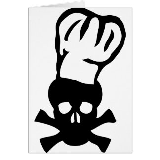 black chef skull chefs head cook card