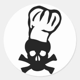 black chef skull chefs head cook classic round sticker