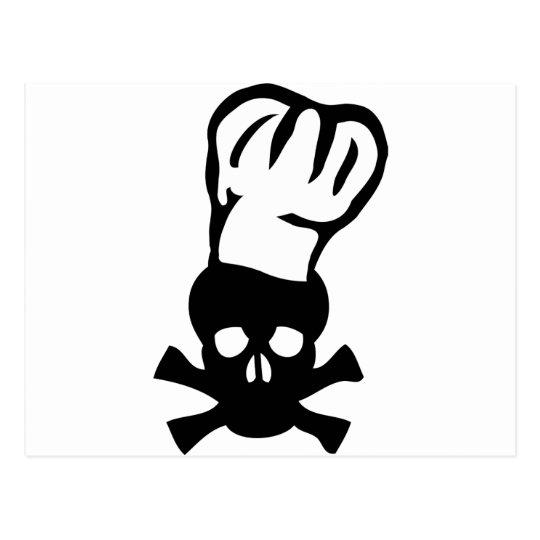 black chef skull chefs head cook postcard