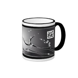 Black Cherry Blossom Tree Ringer Coffee Mug