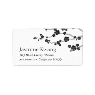 Black Cherry Blossoms Asian Wedding Address Labels
