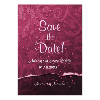 Black Cherry Damask Save the Date Large Business Cards (Pack Of 100)