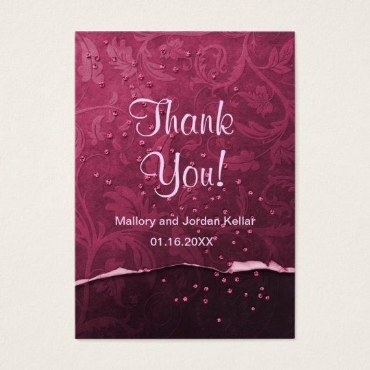 Black Cherry Damask Thank You Business Card