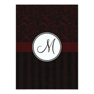 Black Cherry Floral Wisps & Stripes with Monogram Card