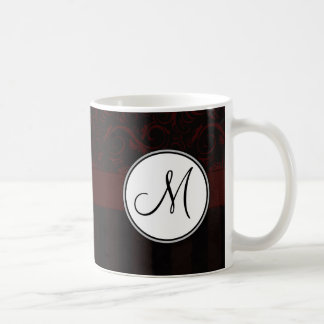 Black Cherry Floral Wisps & Stripes with Monogram Classic White Coffee Mug