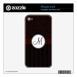 Black Cherry Floral Wisps & Stripes with Monogram Decal For iPhone 4