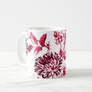 Black Cherry Red Vintage Floral Toile No.2 Coffee Mug