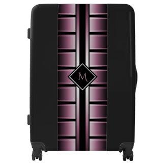 Black Cherry Stripe Initial Luggage