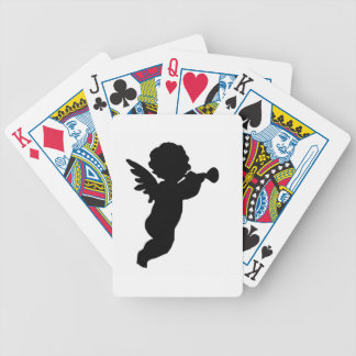 Black Cherub Silhouette On Colored Background Bicycle Playing Cards