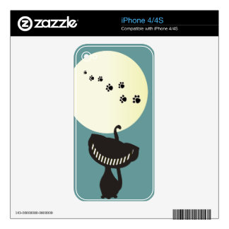 black cheshire cat moon paws skins for the iPhone 4