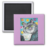 BLACK CHESHIRE COFFEE CAT 2 INCH SQUARE MAGNET