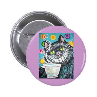 BLACK CHESHIRE COFFEE CAT PINBACK BUTTONS