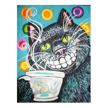 Coffee Themed BLACK CHESHIRE COFFEE CAT POSTCARD