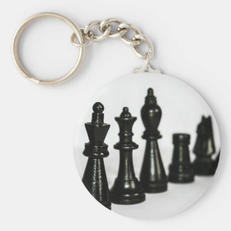 Black Chess Figure Pieces Perspective Keychain