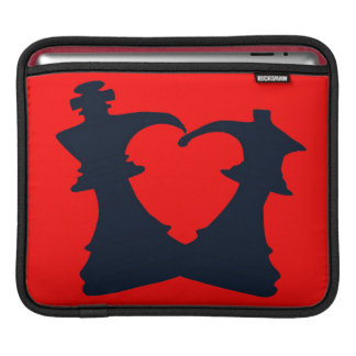 Black chess king and queen form a heart iPad sleeve