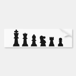 Black chess pieces on white bumper sticker