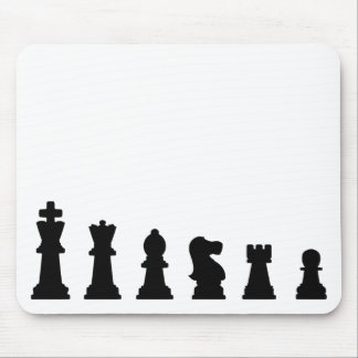 Black chess pieces on white mouse pad