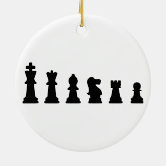 Black chess pieces on white christmas tree ornaments