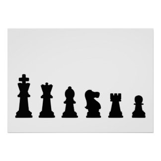 Black chess pieces on white poster