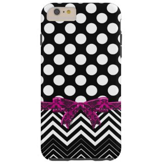 Black Chevron And Polka Dot On A Black Background Tough iPhone 6 Plus Case