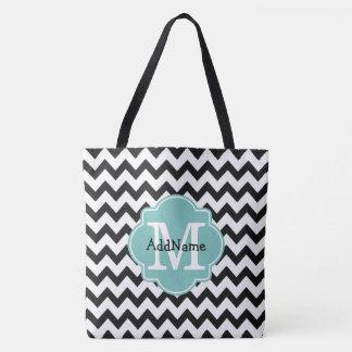 Black Chevron Aqua Monogram & Personalized Name Tote Bag