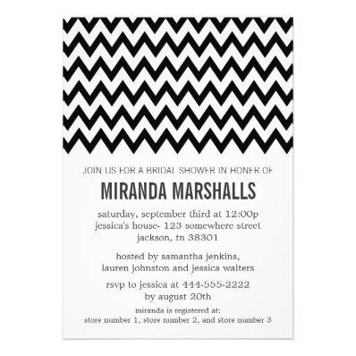 Black Chevron Bridal Shower Invitations