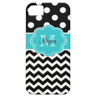 Black Chevron Dots Teal Personalized Phone Case