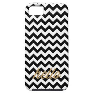 Black Chevron Glitter Hello iPhone Case iPhone 5 Cases