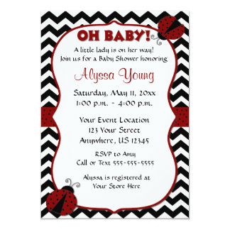 "Black Chevron Ladybug Baby Shower Invite 5"" X 7"" Invitation Card"