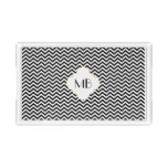Black Chevron Monogram Acrylic Tray