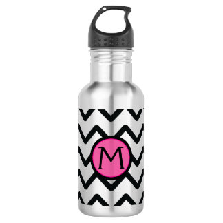 Black Chevron Monogram 18oz Water Bottle