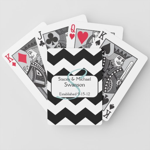 Black Chevron Monogram Playing Cards